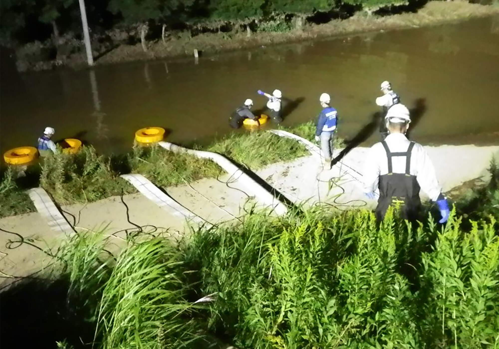 排水の準備作業